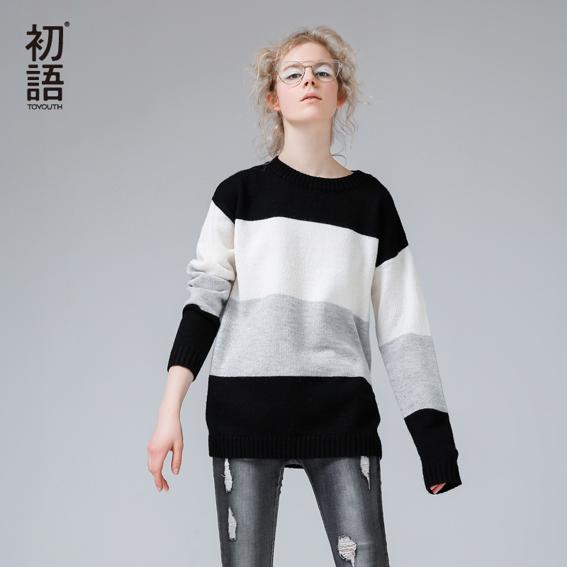 Toyouth Color Block Thick Pullover Knitted Sweater Women Winter Sweater Pullover Female Winter Tricot Jumper Pull Femme Sweater