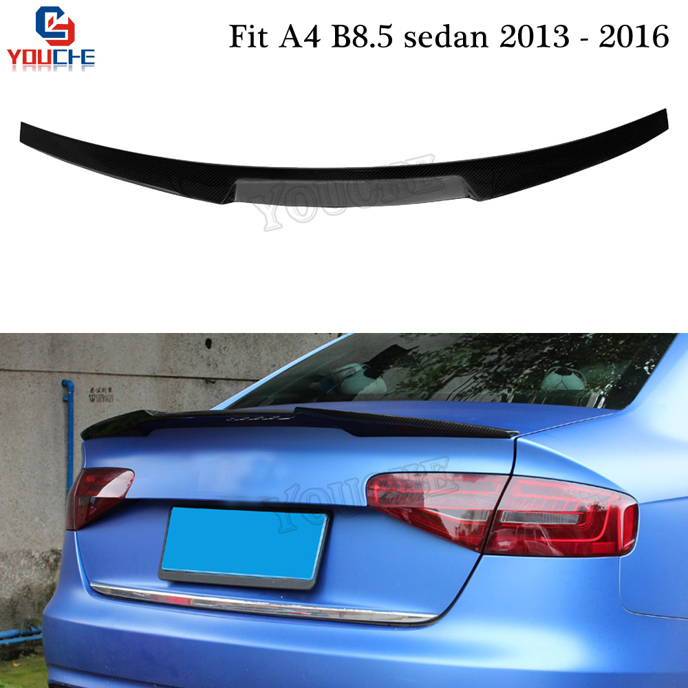 A4 B8.5 Carbon Fiber Rear Spoiler M4 Style Trunk Wing for Audi A4 2013 2016 4 door Sedan Boot Lid