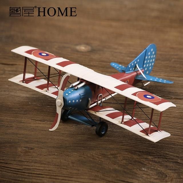 American Rustic Retro Handmade Iron Art Airplane Model Vintage Plane Home  Decor Aeroplane Small Aircraft Model