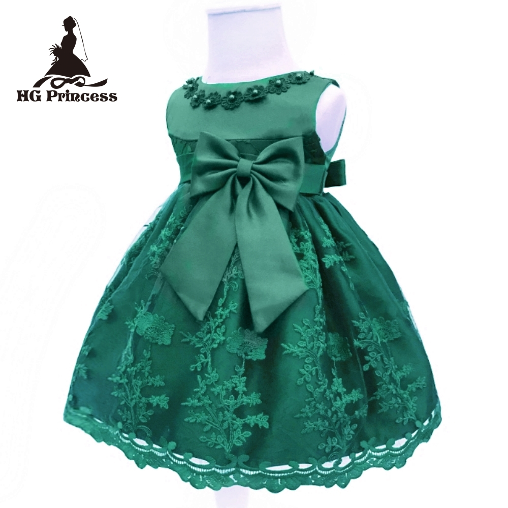 Free Shipping Cute Brand Infant Dresses 2018 New Baby Dress For 1 Year Girl Birthday Lace Cotton Toddler Party Gown Dark Green