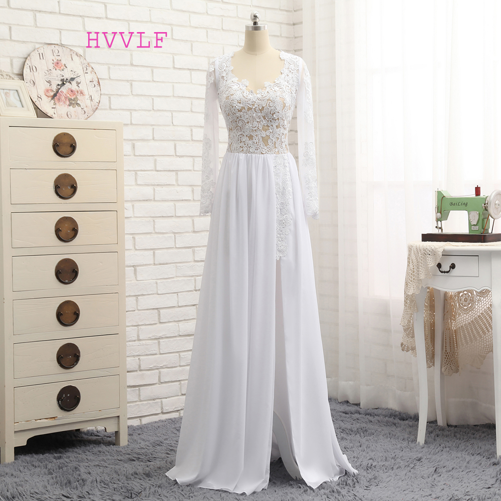 HVVLF Sexy 2019   Prom     Dresses   A-line V-neck Long Sleeves White Chiffon Lace Slit Long   Prom   Gown Evening   Dresses   Evening Gown