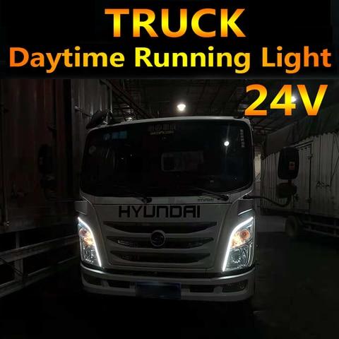 2 pcs 24 v caminhao universal led drl daytime running luz flexivel a prova d