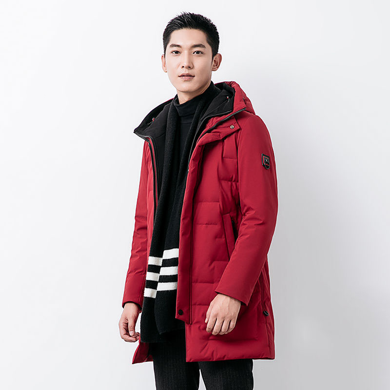 New arrival 2019 autumn winter thickening warm down coat outerwear men hooded medium long slim down jackets plus size