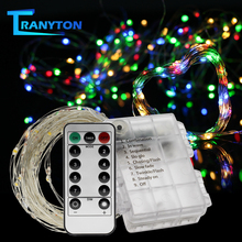 Copper Wire LED String Lights Battery Operated Garland Light Holiday Lighting for Wedding Party Christmas Tree Decoration 5M 10M cheap TRANYTON LED Bulbs None 100cm 6-10m PURPLE Green Blue Pink White Yellow 51-100 head Christmas Lights Outdoor New Year s Garland for Home