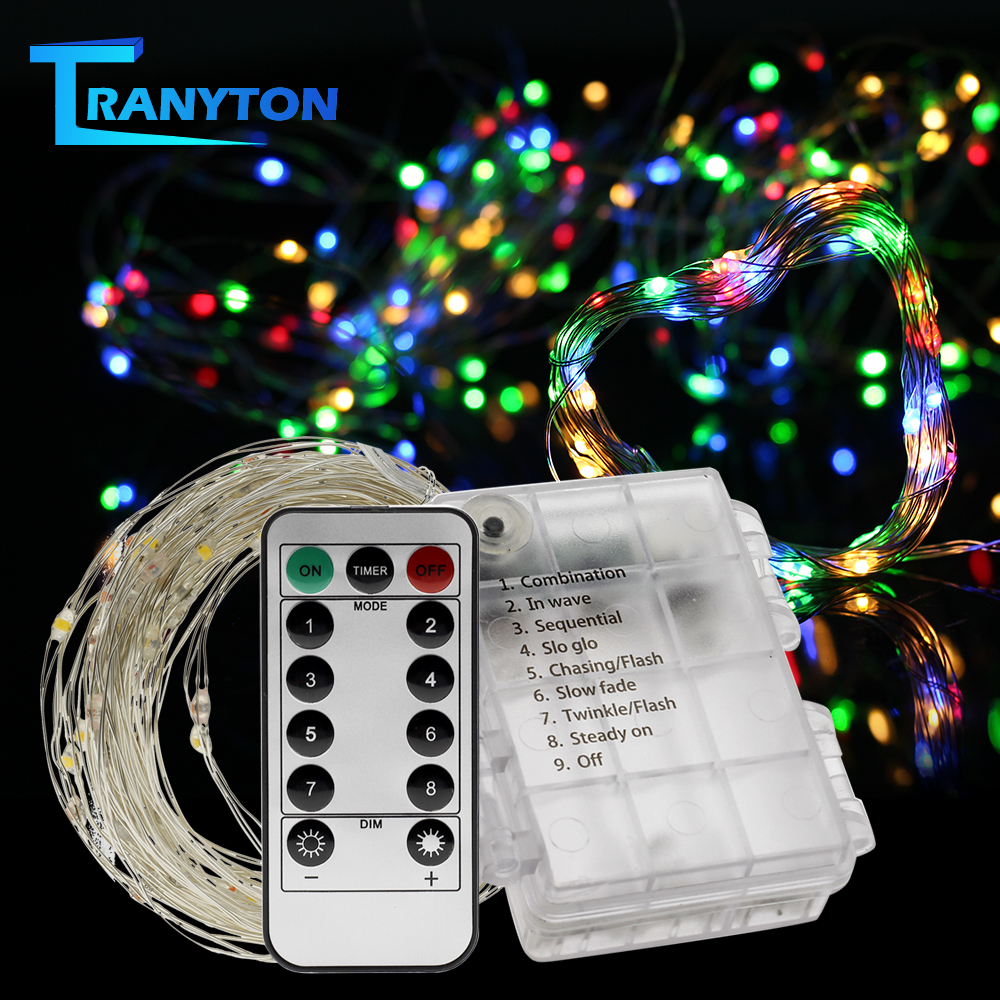 Copper Wire LED String Lights Battery Operated Garland Light Holiday Lighting For Wedding Party Christmas Tree Decoration 5M 10M