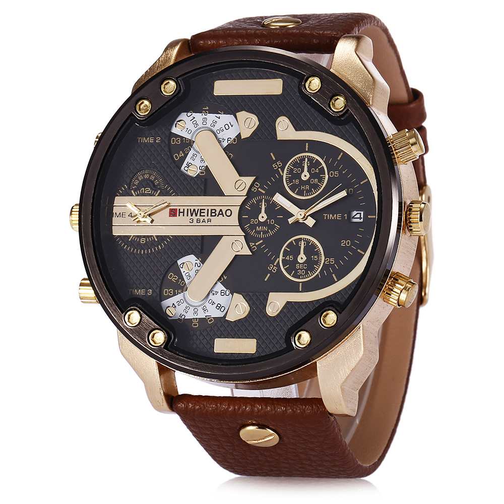 Shiweibao Brand Men's Large Dial Dz Fashion Luxury Leather Strap Gold Military Sports Quartz Watch Clock Relogio Masculino