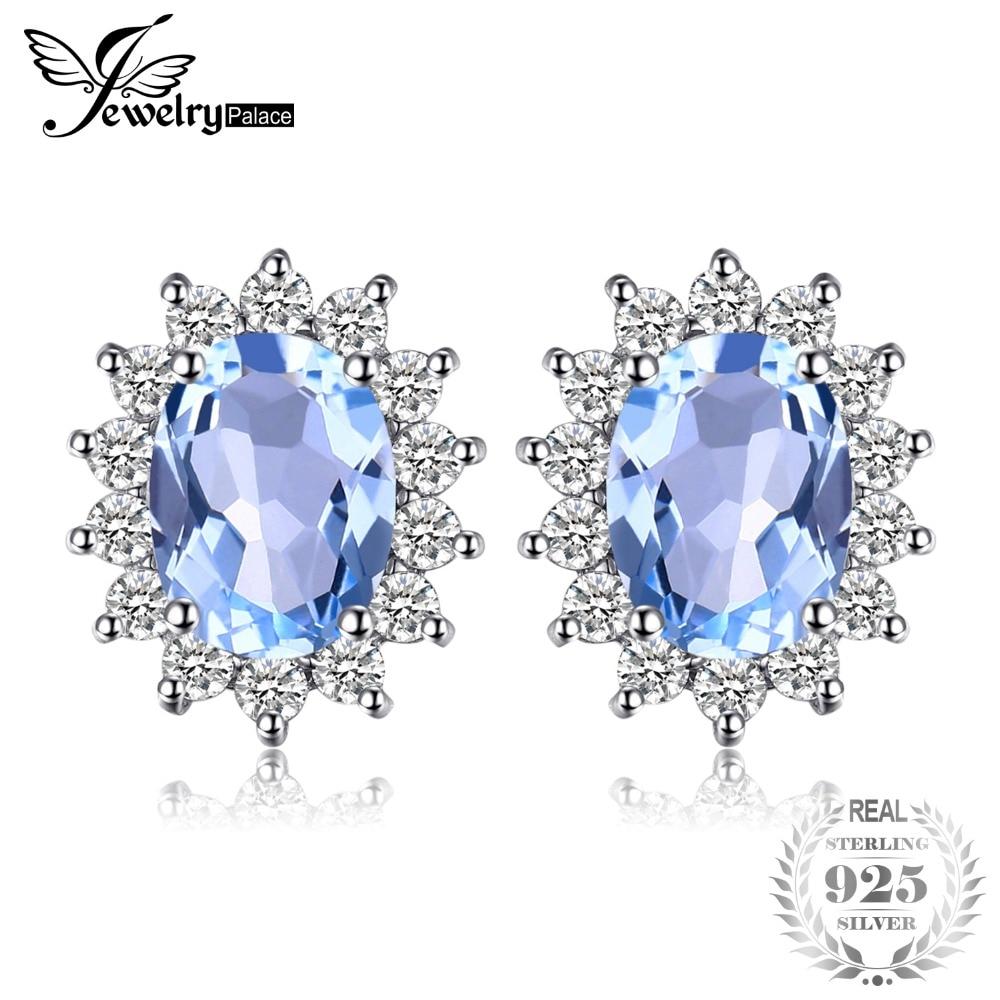 3e0b53d6f7fa JewelryPalace Princesa Diana William Kate 1.2ct Topacio azul Natural Halo  Stud pendientes Plata de Ley 925 joyería de moda de las mujeres -  a.sheiladumlao. ...