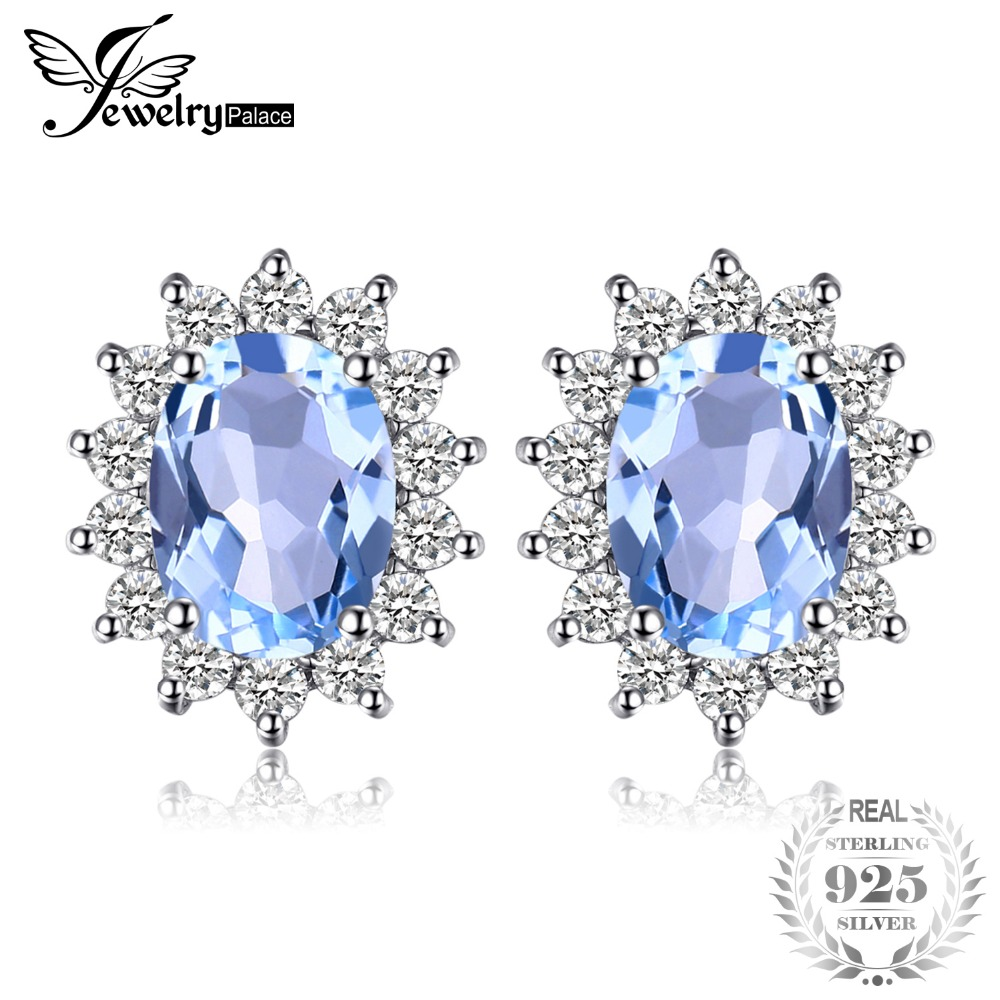 Jewelrypalace Princess Diana William Kate 1.2ct Natural Blue Topaz Halo Stud Oorbellen 925 Sterling Zilver Damesmode sieraden