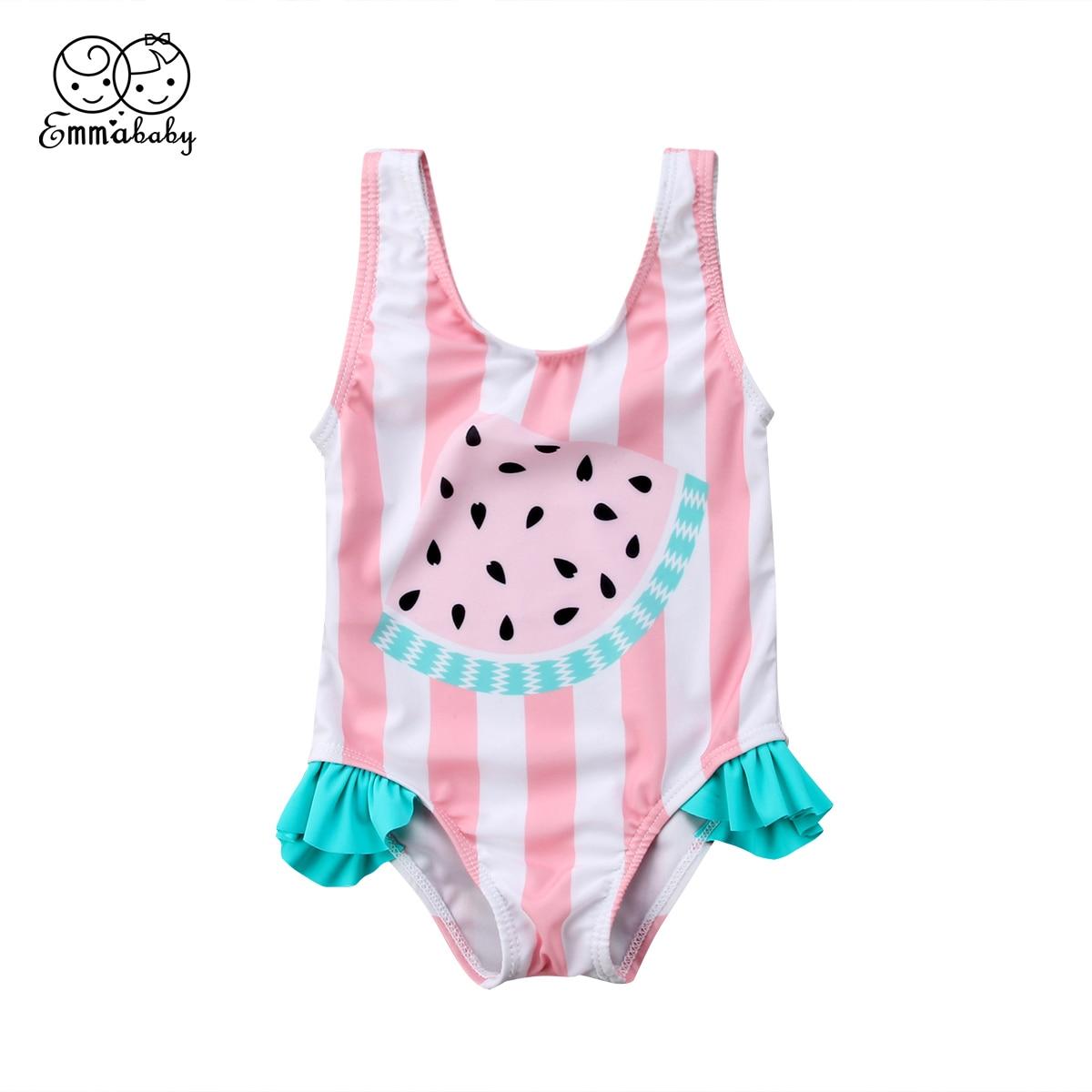 Newest Baby Girl Striped Swimsuit Fashion Cute Watermelon Print Swimwear One-piece Bikini Bathing Suit Beachwear Baby Clothes Купальник