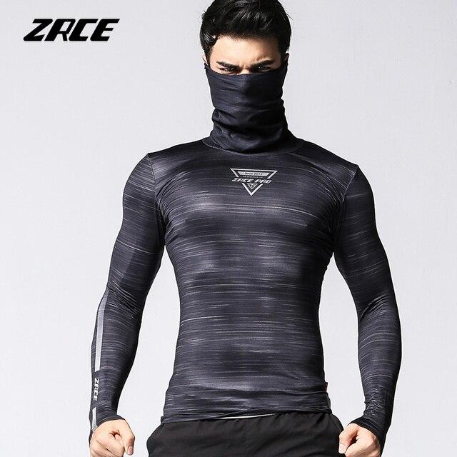 ZRCE 速乾性通気性の高弾性退色防止プルオーバー圧縮男性フィットネスサイクリングシャツのトップス長袖 Tシャツ