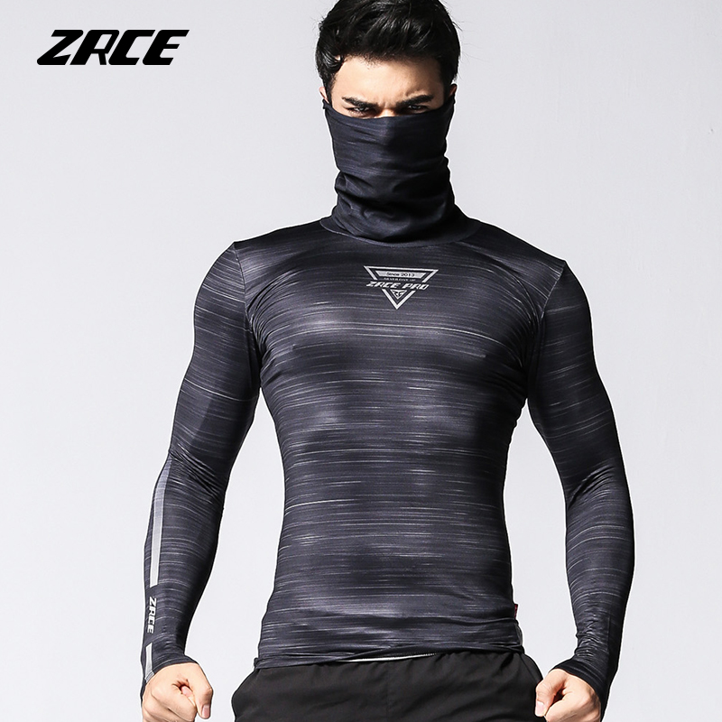 ZRCE quick-drying breathable high-elastic Anti-fading pullover compression tops male fitness cycling   shirt   long-sleeved   T  -  shirt