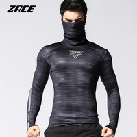 ZRCE quick drying breathable high elastic Anti fading pullover compression tops male fitness cycling shirt long sleeved T shirt