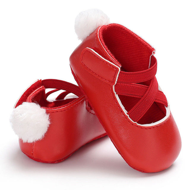 Zapatos de princesa de Pu para bebés de 0 a 18 M, zapatos de princesa bonitos con pompón, zapatos para bebés recién nacidos D15