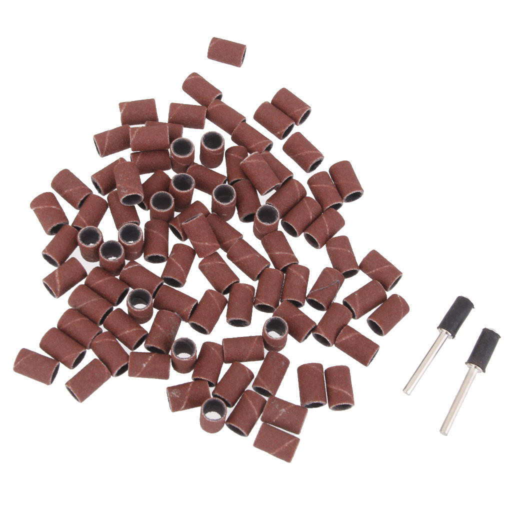 100 Pieces Rotary Tool 1/2inch Sanding Drum Sleeve Bands Mandrels Set For Jeweler