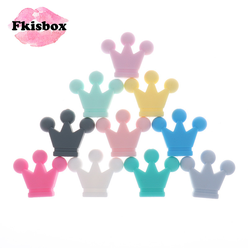 Fkisbox 50PCS Silicone Crown Teething Beads Bpa Free Baby Teether Soft Necklace Pendant DIY Babies Pacifier Chain Christmas Gift