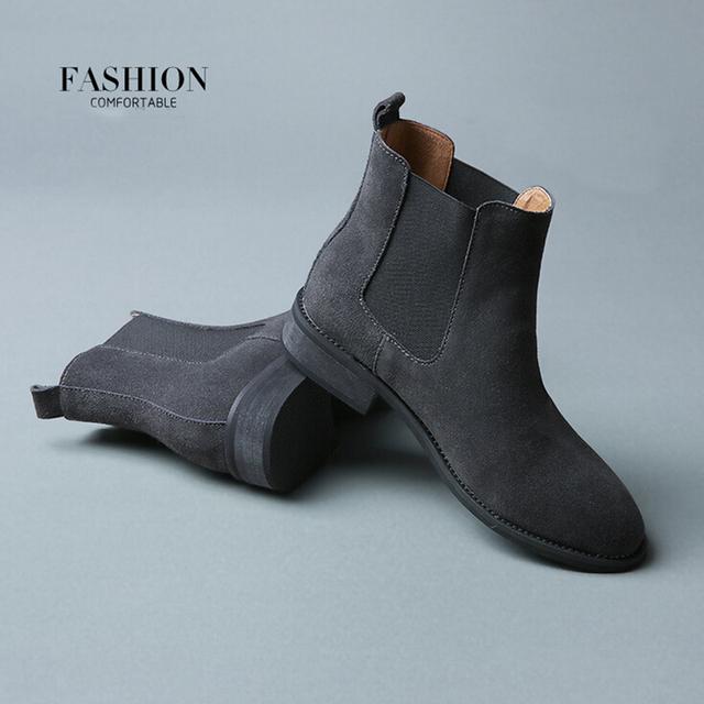 2017 Inverno Plataforma Chelsea Genuínas Mulheres Botas de Couro Fosco Plana Sapatos de Inicialização das mulheres Black Grey Brown Tamanho Ankle Boot 40 ZK3-3