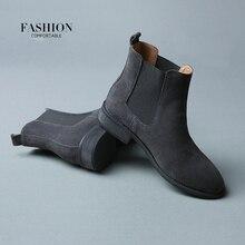 2017 D'hiver Chelsea Véritable Femmes Bottes En Cuir Mat Plate-Forme Plat femmes de Boot Chaussures Noir Gris Brun Cheville Boot Taille 40 ZK3-3