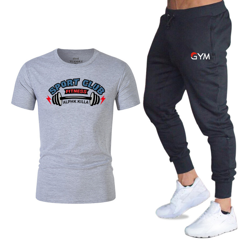 Men Fashion Two Pieces Sets Jogger Pants+T Shirts Men Sports Joggers Training Suit Brand Gym Fitness Tracksuits Set Streetwear
