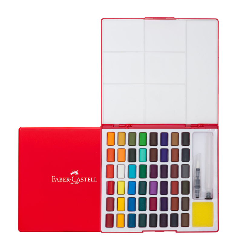 Image 2 - Faber Castell 24/36/48Color Solid Watercolor Paint Box With Paintbrush Bright Color Portable Watercolor Pigment Art Supplies    -