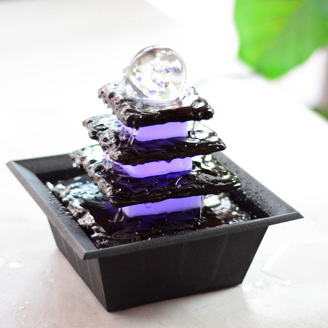 110V 240V Small Water Fountain Waterscape Feng Shui Living Room Ornaments  Lucky Home Decoration Rockery