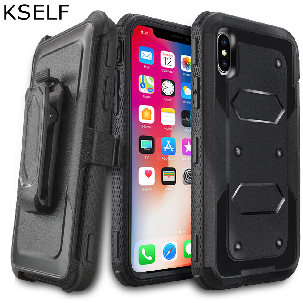 KSELF Luxury Case For Apple iPhone X Case With Built in Screen Protector Cover Heavy Duty Shockproof Cases For iPhone X 10 Coque