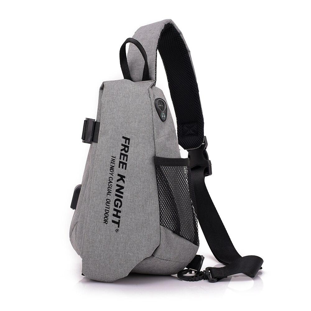 Men Waterproof USB Charging Chest Bag Travel Crossbody Bag Anti Theft GYM Sports Shoulder Bag Messengers Bag W/ Headphone Jack