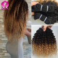 Brazilian Ombre Kinky Curly Hair 3 Bundles Blonde Brazilian Deep Wave Curly Virgin Hair Ombre Brazilian Kinky Curly Virgin Hair