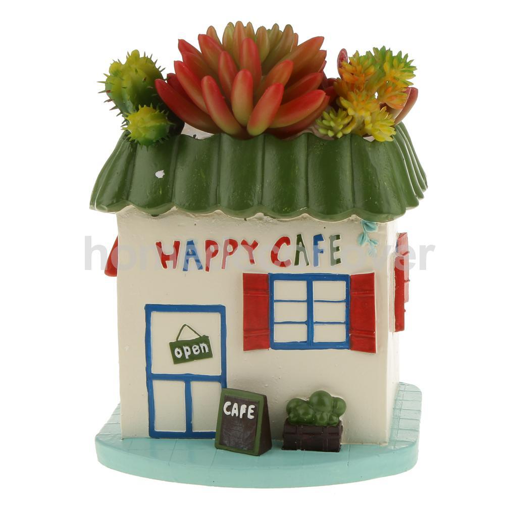 Resin HAPPY CAFE Cacti Succulent Plant Flower Bed Pot Box Garden Planter
