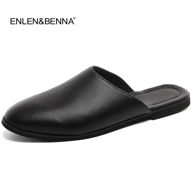 2017 Nyankomst Läder Sandaler Loafers Män Skor Män Mode Sommar Andaslägen Skor Cool Bekväma Slides Flip Flops