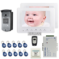 "FREE SHIPPING 7"" Screen Video Intercom Door Phone System + 2 White Monitor + Outdoor RFID Access Doorbell Camera + Remote"