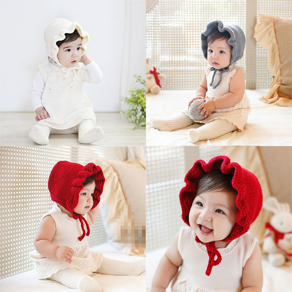 Newborn Infant Baby Hats Solid Knitted Princess Caps Cute Baby Girls Bonnet Newborn Photography Props Kids Wool Cap Beanie 0-3Y