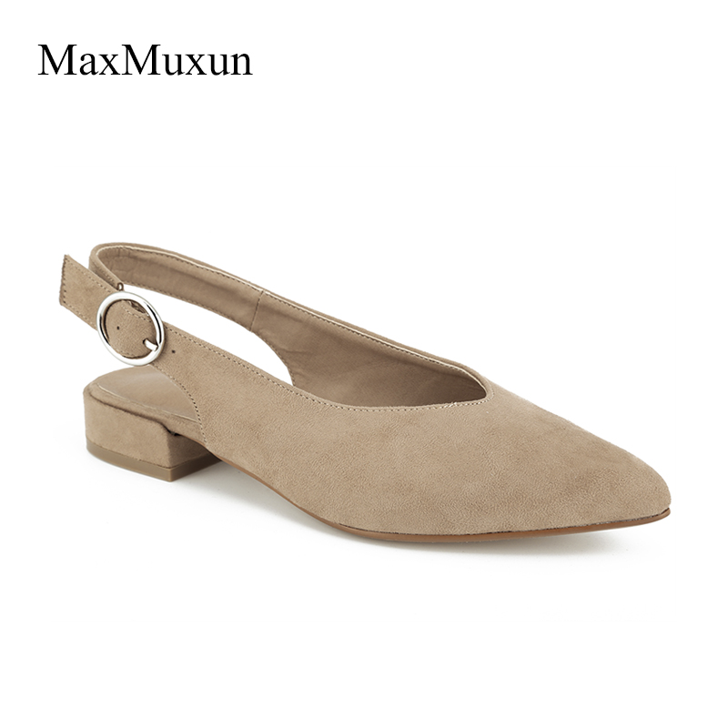 MaxMuxun Women Sexy Slingback Pointed Toe Pumps 2018 Gladiator Buckle Low Block Heels Ladies Black Faux Suede Dress Court Shoes