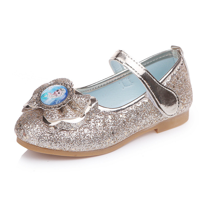4b77ad5dff91 Girl Elsa Anna shoe kids Princess Shoes Fashion gold Shoes low heel Evening  party Leather Shoes Anna Queen Casual Sneakers