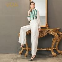 VOA шелк офис комбинезоны белый Для женщин комбинезон Высокая Талия туника тонкий длинный рукав основные Формальные печати пояс широкую ног