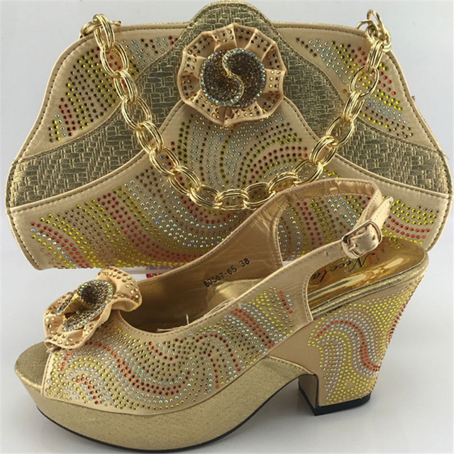 ME7703 Gold Wholesale Upscale African Rhinestone High Heels Shoes And Bag  Beauty Woman Pumps Sandsals Matching 3462b8acf378