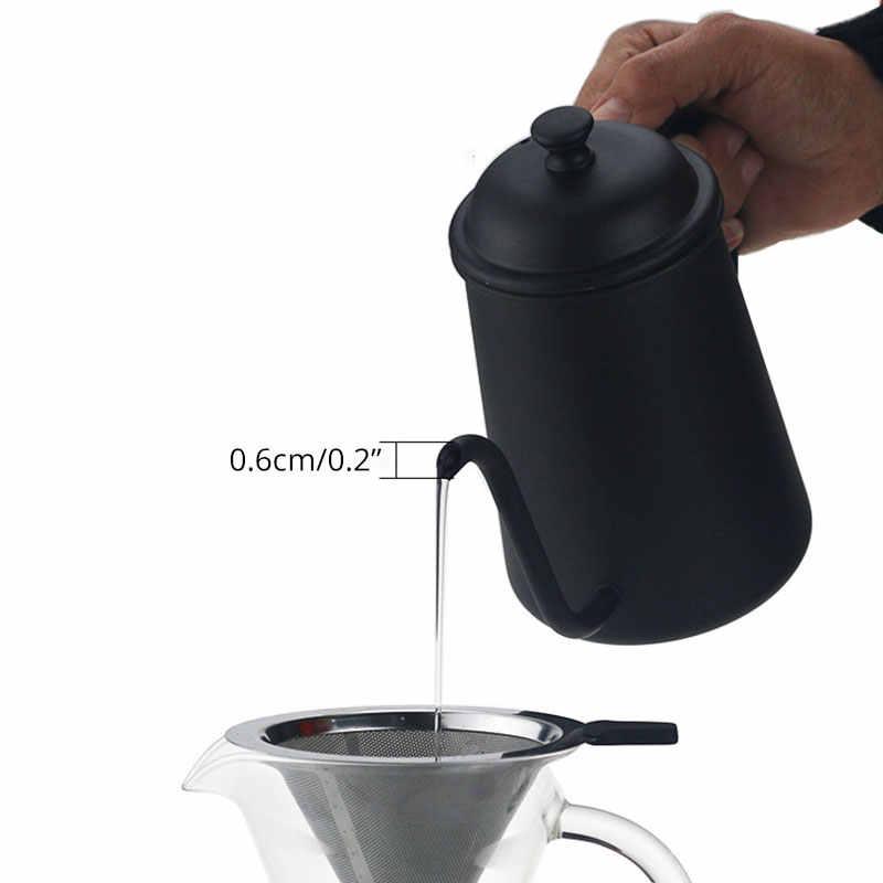 Ручной капельный кофейник-чайник из нержавеющей стали с длинным горлышком, 700 мл