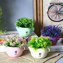 NEW ARRIVAL 2pcs/lot Creative Teapot Shape Postral Style Artificial Flower Pot Flower Plant Miniascape Vase Home Decor
