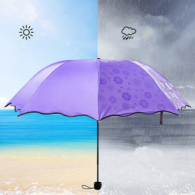 Creative Colour Changing Umbrella Multi-function Magic Flowers Dome Parasol Sun/Rain Folding Umbrella For Women Anti-UV Parasol