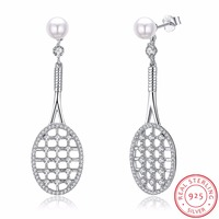 Micro Pave Cubic Zirconia Tennis Racket Pendant Necklace Women 925 Sterling Silver Link Chain Pearl Jewelry