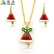 Christmas Decoration Jewelry Sets Fashion Red Enamel Christmas Hat Gold Plated Earrings Necklace For Women Sets
