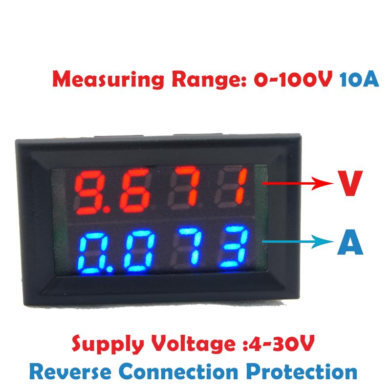 0.28inch Digital Voltmeter Ammeter DC 100V 10A Blue Red Dual LED Dual Display Panel Amp Volt Voltage Current Meter 2 Wires цена