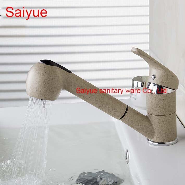 Large marbre pierre gris peinture tirer tourner robinet de salle de bain pour bassin chaud et froid mélangeur toilette Salon de coiffure robinet de lavage