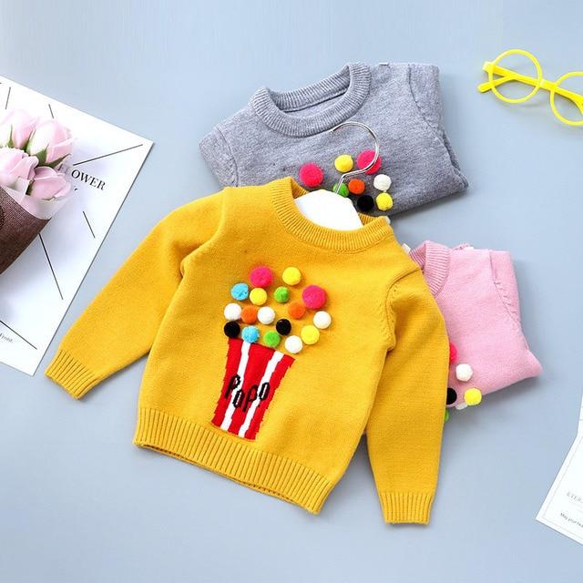 925d95c3d Top Children s Spring   Autumn Cute Cartoon Popcorn Sweater Girls ...