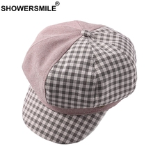 SHOWERSMILE Womens Newsboy Caps Pink Plaid Octagonal Hat Female Patchwork Striped Ladies Fashion Spring Duckbill Baker Boy