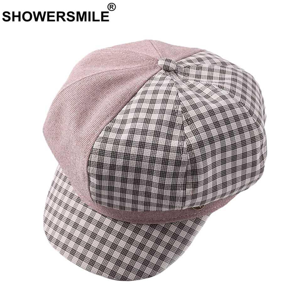 SHOWERSMILE إمرأة قبعات الوردي منقوشة مثمنة قبعة موزع الصحف الإناث خليط مخطط السيدات أزياء الربيع منقار البط بيكر صبي قبعة