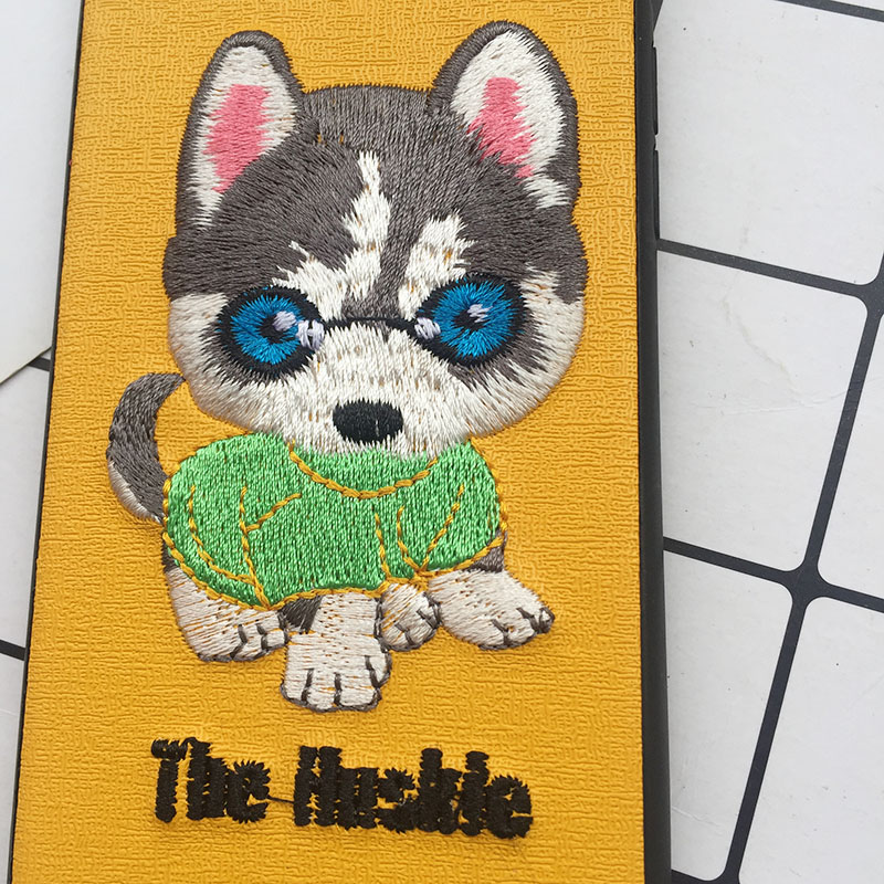 Tfshining Cute 3D Embroidery Cover Case For iPhone XS Max XR X 6 6s 7 8 Plus Soft Full Dog Teddy Pug Husky Dog Mobile Phone Case (13)