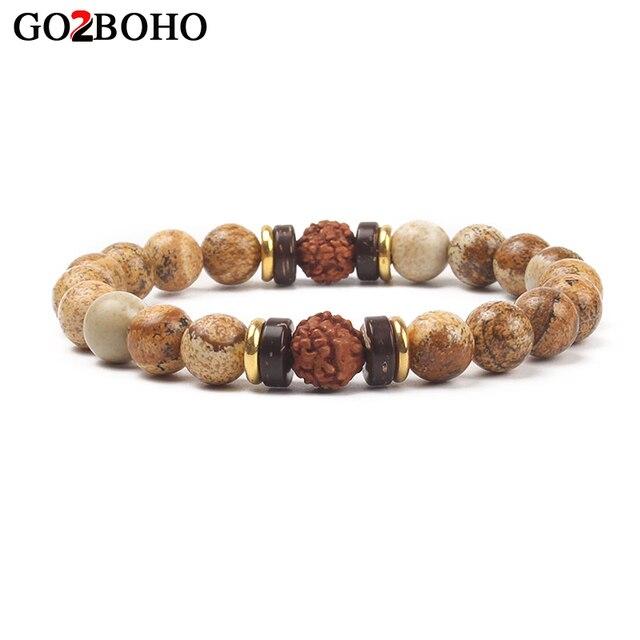 Go2boho Men Jewelry Bracelet Statement Bracelets Rudraksha Mala Matte Beads Beaded Mens Gift Chakra Bangle Pulseira Masculina