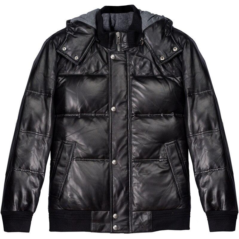 Зимние Для мужчин бомбардировщик пилота основные из натуральной кожи куртка мотоцикла пальто, Для мужчин пуховик, кожа овчины Повседневное...