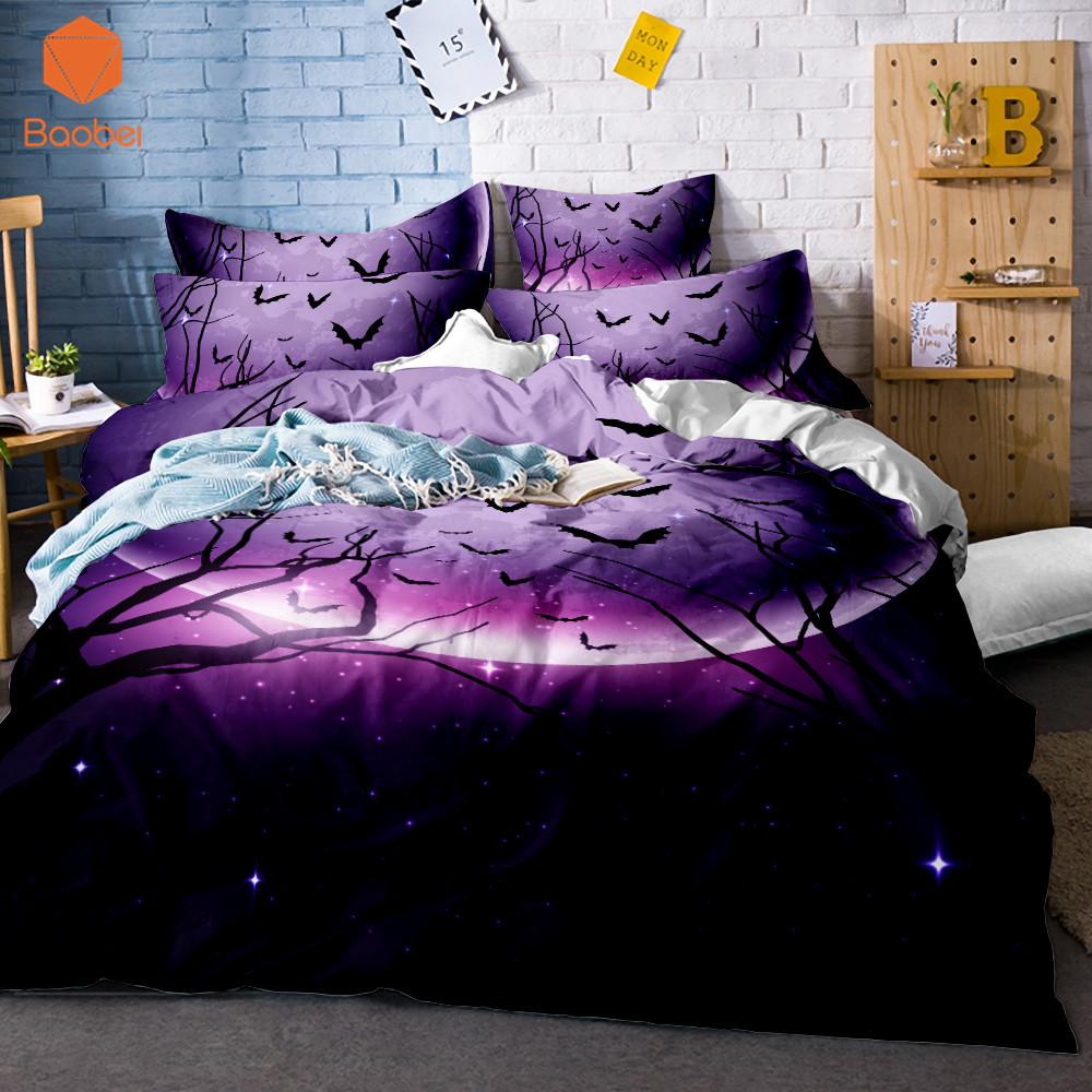 3d Cartoon Halloween Black Bat Duvet Cover Purple Bedding