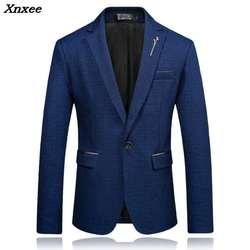 Мужской Повседневное Блейзер Slim Fit One Button Британский стиль костюм куртки Большие размеры M-5XL Бизнес мужской черный темно-цвет красного вина